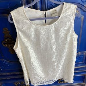 Bedford Fair Size 18W Cream Tank Blouse Lace Top